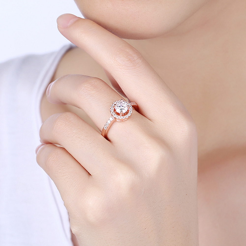 New Fashion Simple Rings For Women 18 Rose Gold Filled Round Micro ...