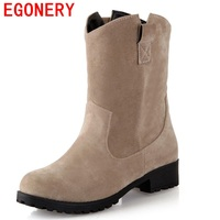 Ankle boots EGONERY moer arenosos slip-on dedo do pé redondo grosso quadrado saltos baixos botas de inverno sólidos concisos mulheres casuais sapatos