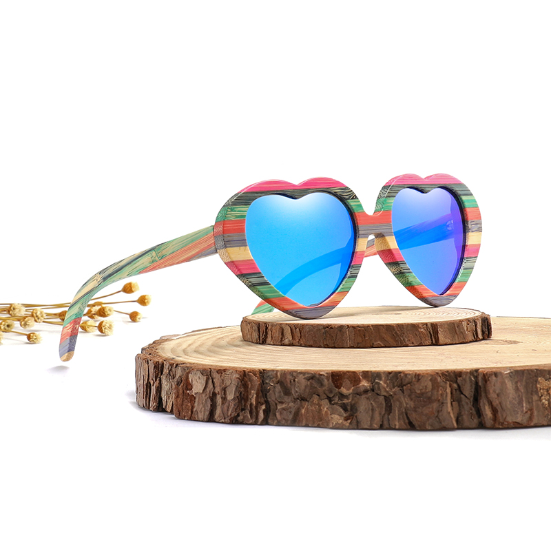 Image 2 - Fashion Heart Sunglasses Brand Designer 2018 Women Wood Bamboo Sun Glasses Mens Polarized Pink Shade-in Women's Sunglasses from Apparel Accessories