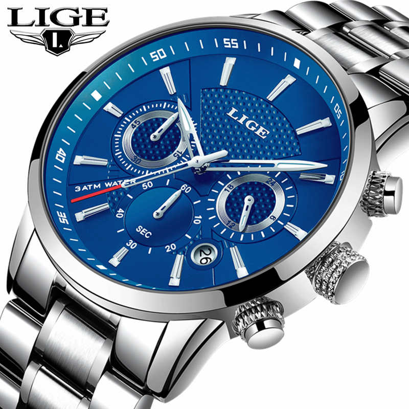LIGE Fashion Mens Watches Top Brand Luxury Casual Quartz Watch Men Full Steel Business Waterproof Sport Watch Relogio Masculino колготки ori колготки ori control fit 40 den