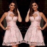 Лидер продаж Дешевые Розовый Короткое коктейльное платье женское платье для выпускного бала Аппликация Кружевное Вечернее Платье Встреча