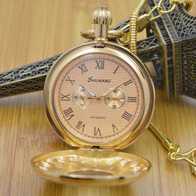 Pure Cooper 3 Dials Wind Up Mechanical Mens Pocket Watch W Snake Chain Hollow Case