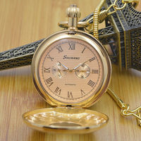 Pure Cooper 3 Dials Wind Up Mechanical Mens Pocket Watch W/ Snake Chain Hollow Case Steampunk Watch