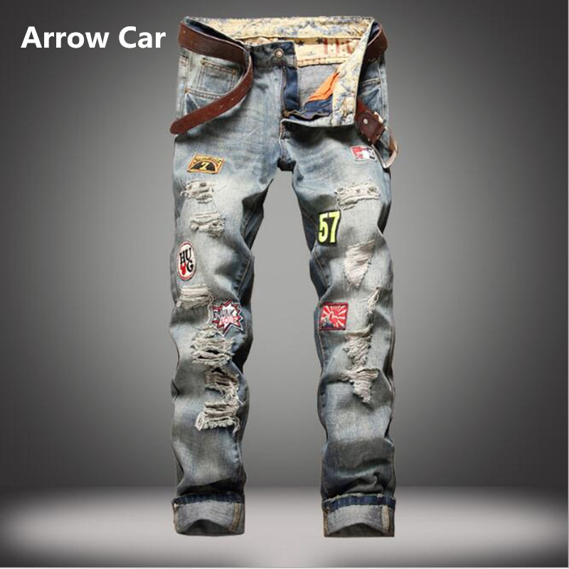Arrow Car Brand Jeans Men Slim Straight Badges Do The Old Hole Jeans Casual Fashion High Quality Mens Pants