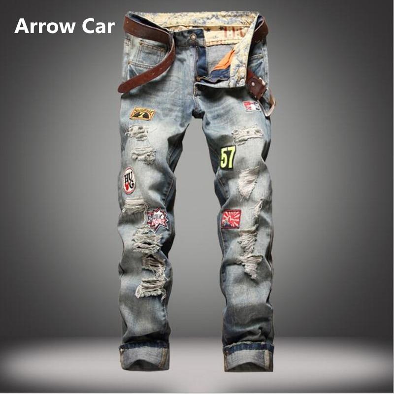 Flèche voiture marque Jeans hommes Slim Badges droits faire le vieux trou Jeans décontracté haute qualité hommes J pantalon
