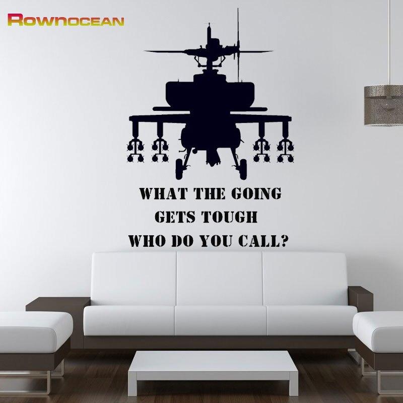 ROWNOCEAN Military Helicopter Gunship Wall Stickers Home Decor Living Room Art Vinilos Decorativos Kids Stencils For