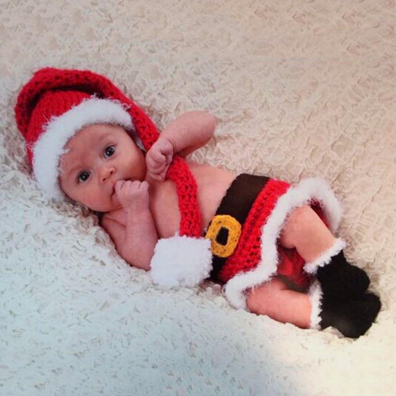 Для новорожденных Рождество gife Санта вязаные крючком костюм Косплэй Фото Опора для маленьких Рождество шляпа пеленки Набор