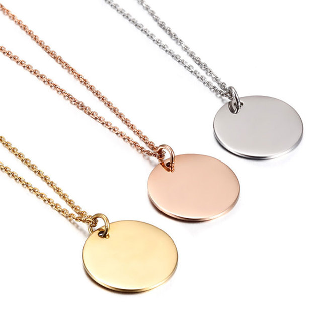 59c2d4a194e7b4 Initial Disc Necklaces Pendants Silver Custom Engraved Monogram Charm  Necklace Women Everyday Personalized Jewelry Party Gift