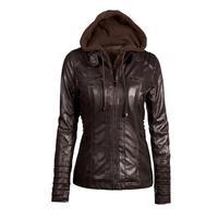 SHIBEVER 6XL Winter Leather Jacket Women Coat Fashion Casual Ladies Autumn Hooded Jacket Outwear Female Women