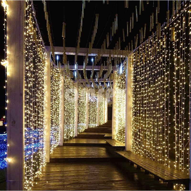 300leds Fairy String Icicle LED Curtain Light 300 Bulbs Xmas Christmas Wedding Garden Party Decor 110V/220V 4.5M*3M 12 Strands 3m x 3m 4m x65cm led curtain icicle fairy string lights ice bar lamps christmas 220v new year garden xmas wedding party decor