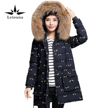 Leiouna Large Size 4xl 2017 New Hooded With Fur Warm Jacket Women Winter Print Long Sleeve Parkas Pakage Snow Wear