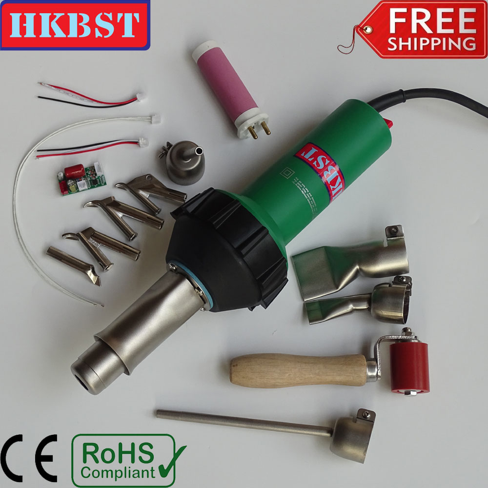 HKBST brand hot air welding heat gun plastic welder for PP,PVC,PE,PPR,vinyl floor,Geomembrane,tarpaulin,banners etc weld ems dhl fast shipping bosite 220v 1000w plastic welder hot air gun welding heat gun rod gas vinyl welding equipment