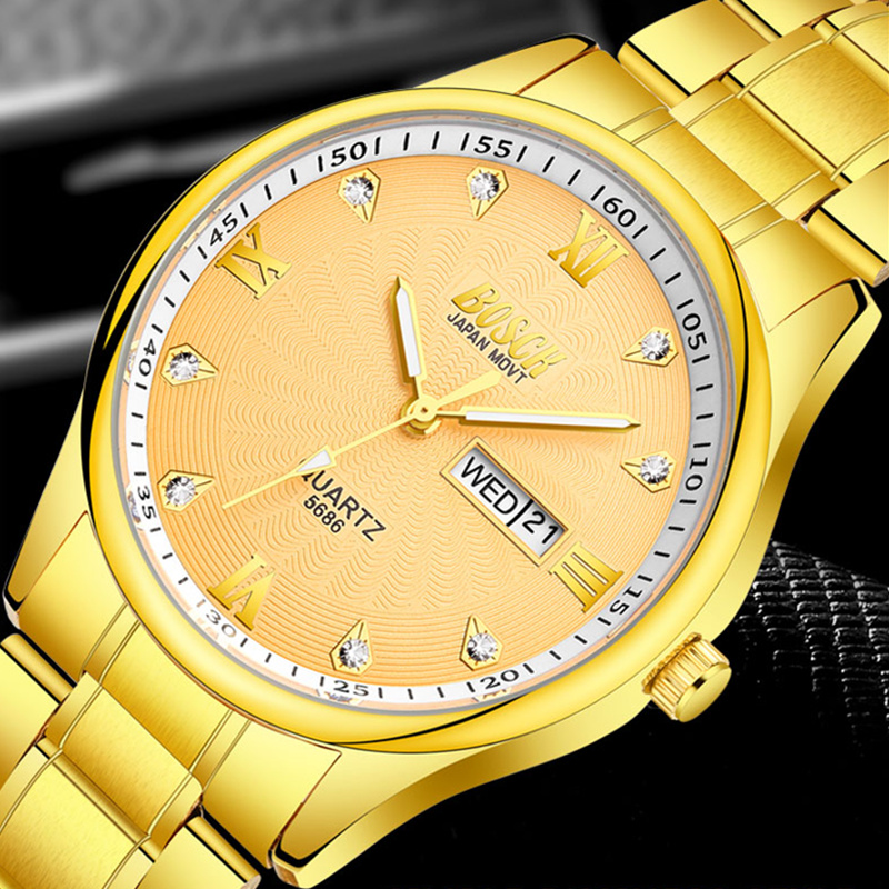 Top Luxury Brand Bosck Men Gold Watch Waterproof Stainless Steel Watches Quartz Watch Man Business Wrist Watch 2018 Reloj Hombre bosck top luxury brand watch men casual brand watches male quartz watches men waterproof business watch military stainless steel