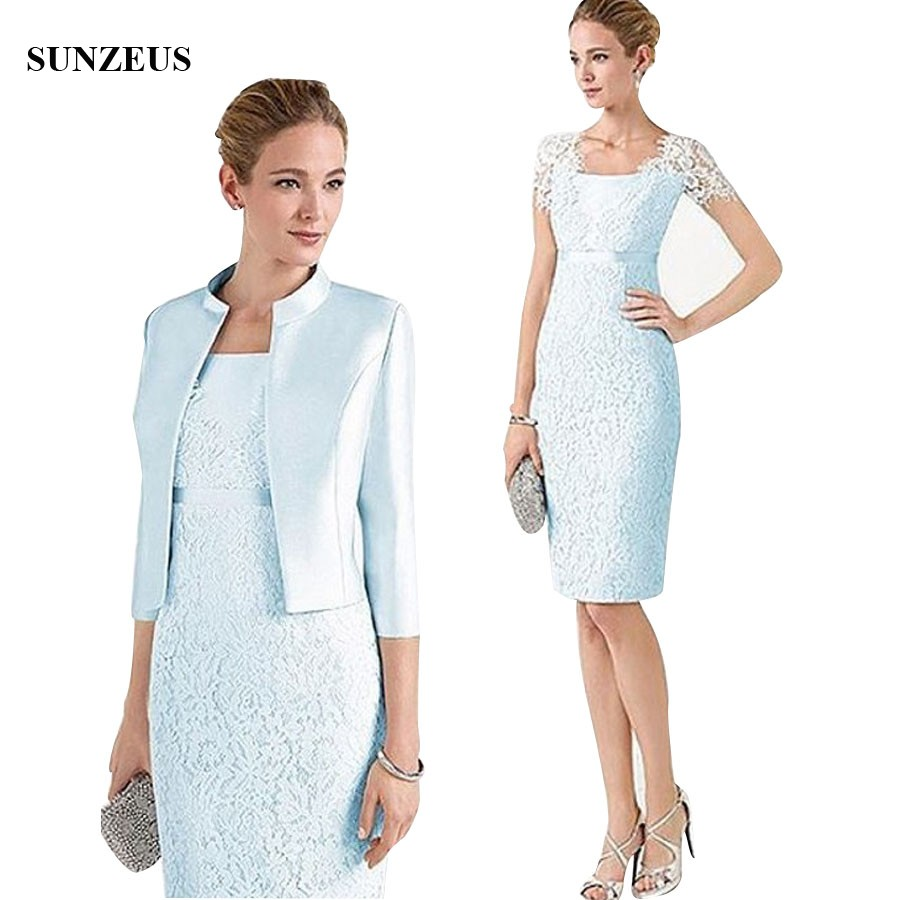 Blue Lace Mother Of the Bride Dress With Jacket Knee Length Short Sleeve Groom Mother Dress Wedding Party Gowns CM0124