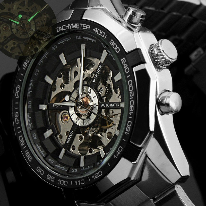Skeleton Mechanical Watch For Man Automatic Self Winder Wrist Watch