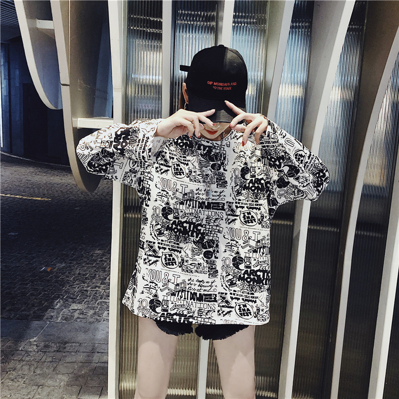 Women's Clothing Autumn Korean ulzzang Tops Casual loose hipster letter Print harajuku Tees BF O-neck long sleeve New T-Shirts 7
