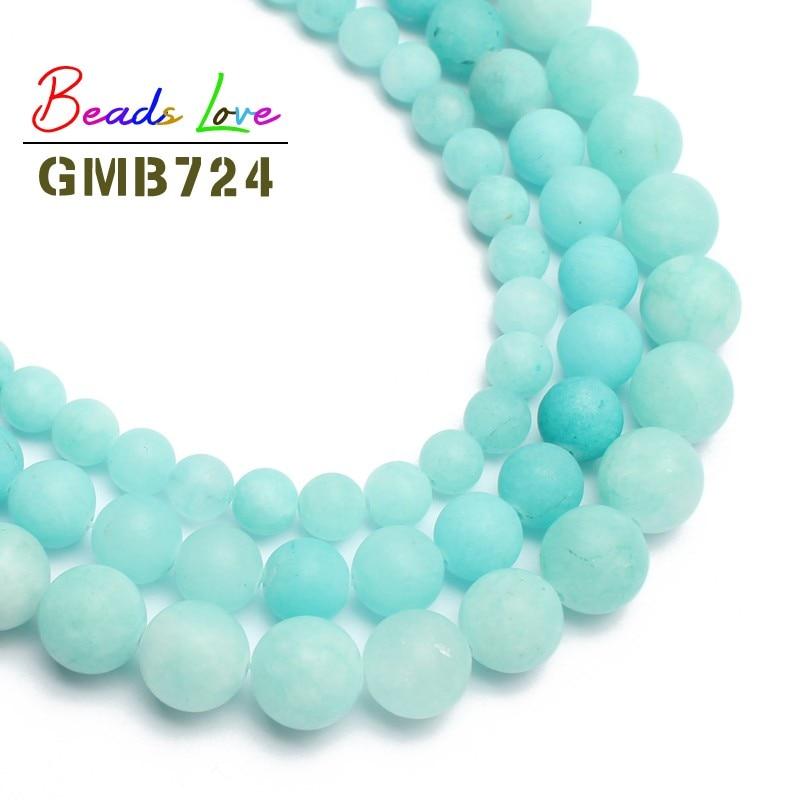Wholesale Matte Blue Stone Beads For Jewelry Making Round Loose Bead DIY Bracelet Choker joyas Jewellery 6/8/10mm 15inches