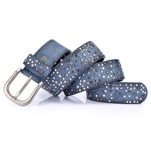 Image 3 - New Fashion womens Rivet belts Punk rock style belt For lady PU + Genuine leather Sequins Metal buckle Wide Metal rivet bead