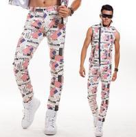 Мужские брюки для сцены, кожаные штаны, мужские брюки, певица, танец, принт, флаг, pantalon homme, уличная звезда, стиль, новинка, мода