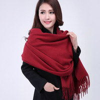 Burgundy 2015 New Women 100 Wool Thick Solid Color Winter Shawl Scarf Scarves Wrap YW1024