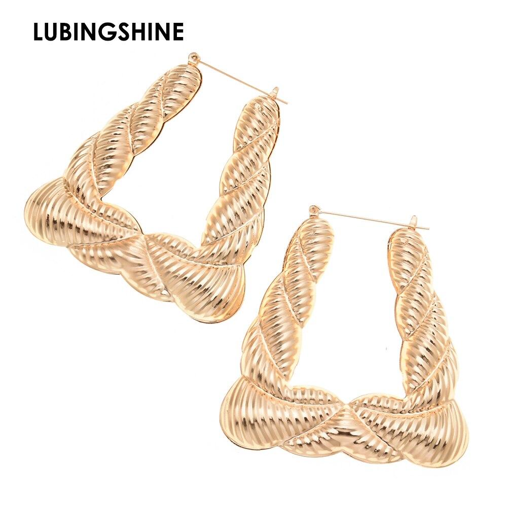 Lubingshine Mode Hohl Geometrische Big Gold/silber Farbe Hoop Ohrringe Für Frauen Brinco Romantische Ohrring Schmuck Geschenke GläNzende OberfläChe Ohrringe
