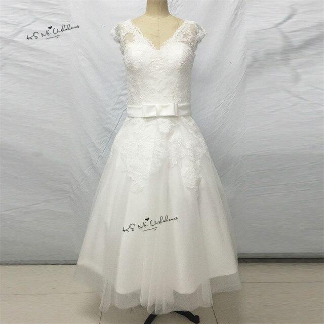 Vestido de Noiva Curto Vintage Tee Länge Brautkleider 2017 Weiß ...