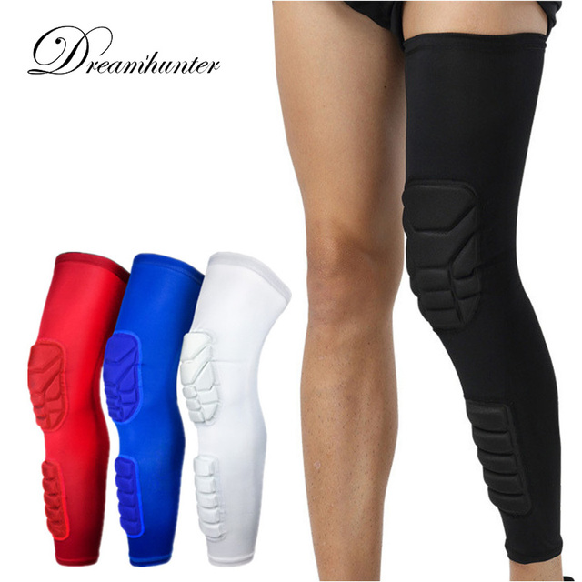 ba8dc7bc5e Pro Basketball Knee Pads Lengthen Breathable Compression Knee Calf Sleeves  Pads Brace Hiking Cycling Leg Protectors