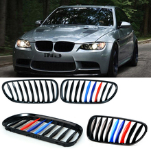 1 Pair Gloss Black M Color Front Kidney Grille Racing Grill For BMW E85 E86 Z4 2003-2008 Convertible Coupe Car Lattice P8(China)