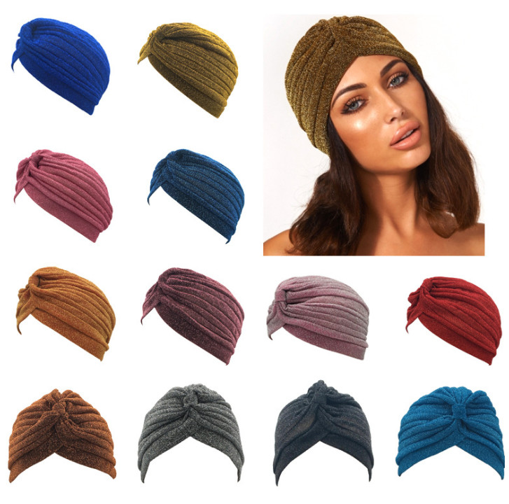 Hijab Indian-Hats Women for 100pcs Turban-Cap Glitter Shimmer Sparkly Gorgeous Muslim