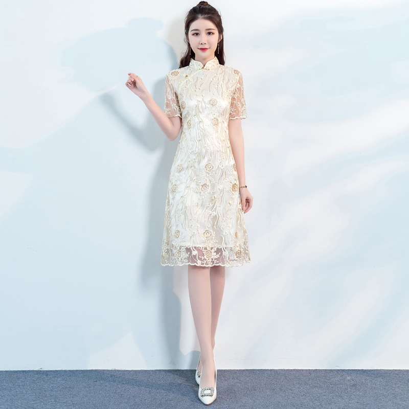 Beige Lace Flower Cheongsam Elegant Women' S Handmade Button Dress Short Sleeve Knee Length Sexy Short Dress Plus Size S-XXXL