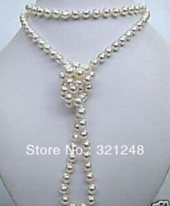 Nouveau bricolage de mode 6-7mm perles naturelles de culture d'eau douce blanche naearround perle longue chaîne collier femmes bijoux 48 pouces MY1374