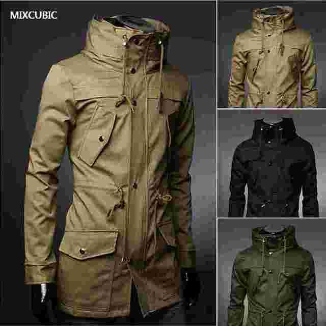 MIXCUBIC 2017 イングランドスタイルの高襟ジャケットトレンチ男性アーミーグリーンビジネスカジュアルスリムウインドブレーカーコートジャケット M-XXXL