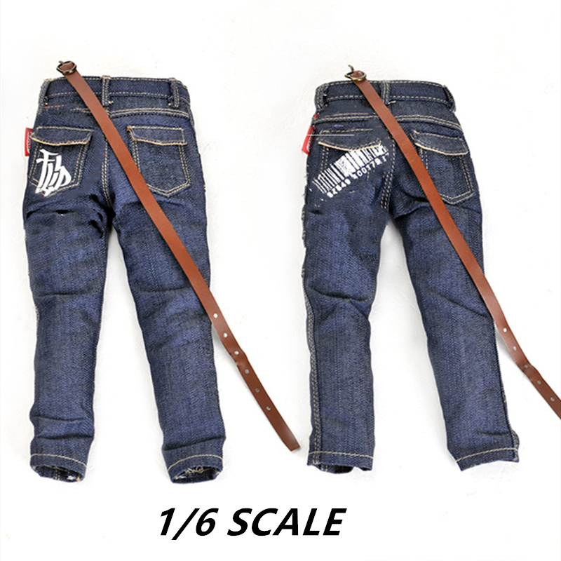 <font><b>1/6</b></font> <font><b>Scale</b></font> Male Classic Jeans <font><b>for</b></font> 12 inches Action Figure Body Dressup <font><b>Accessories</b></font> Mini Soldier Military Model Modified Clothes image