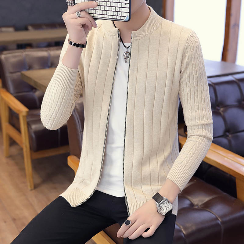 Men Sweater Cardigan Zipper Fashion 2020 New Arrival Autumn And Winter Slim Male Knitted Coat Teenage Boys Korean Style M17