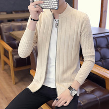 Men Sweater Cardigan Zipper Fashion 2019 New Arrival Autumn And Winter Slim Male Knitted Coat Teenage Boys Korean Style M17