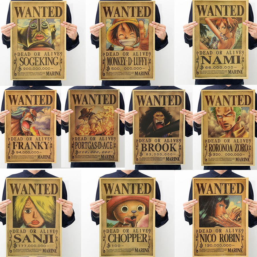 10pcs One Piece Action Figure Wanted Poster Craft Print font b Wall b font Sticker Vintage