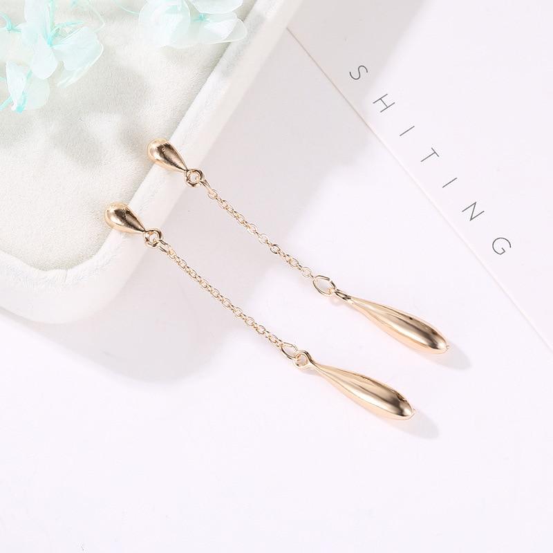 New Fashion Korean Version Of Simple Drop Earrings Long Personality Tassel Streamlined Earrings Women Jewelry Christmas Gifts in Drop Earrings from Jewelry Accessories