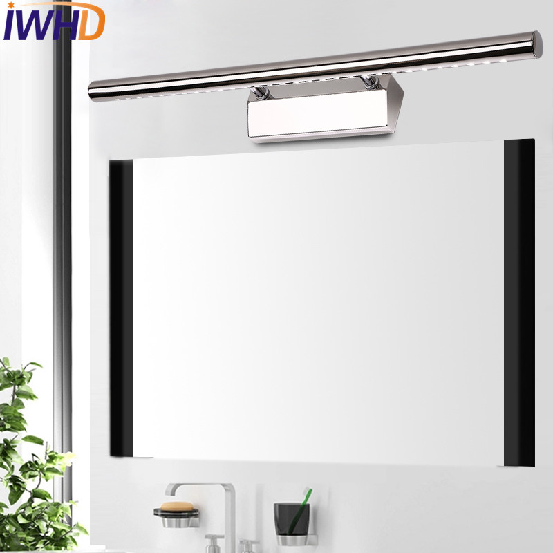 IWHD Simple Modern LED Wall Sconces Mirror Wall Light Fixtures For Home Indoor Lighting Bathroom Lamp Lampe Murale Lamparas modern led bathroom light stainless steel led mirror lamp dresser cabinet waterproof sconce indoor home wall lighting fixtures