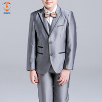 5 Pcs Set Baby Boy S Suit For Wedding Prom Formal New Arrival Fashion Silvery Dresses