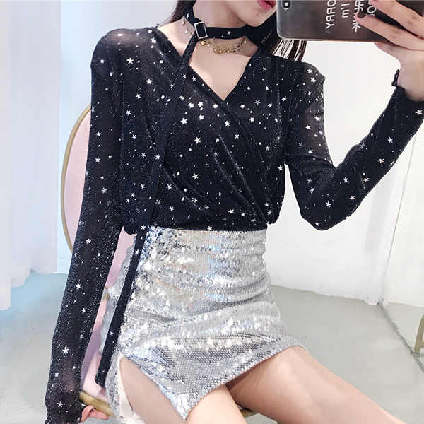 ce5cd4e2fa7 Sexy Cross V Neck Sparkling Star T Shirts Women 2018 Spring New Korean Style  Long Sleeve