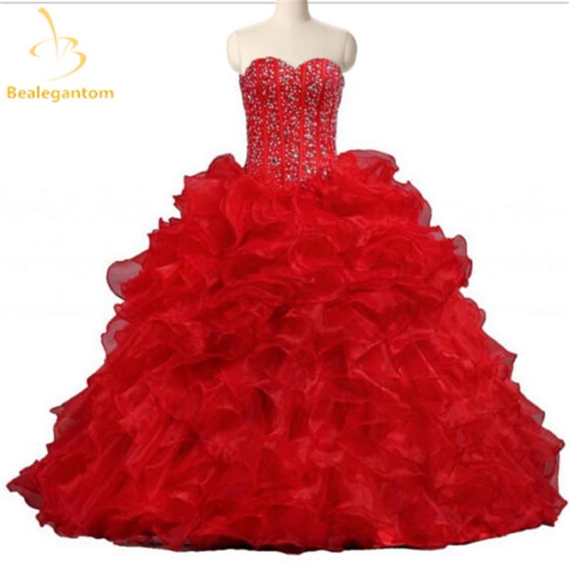 Bealegantom Elegante Red Querida Vestidos de Baile Quinceanera Vestidos Frisada Pedrinhas Doce Vestidos de Vestidos De 15 Años 16 QA1124