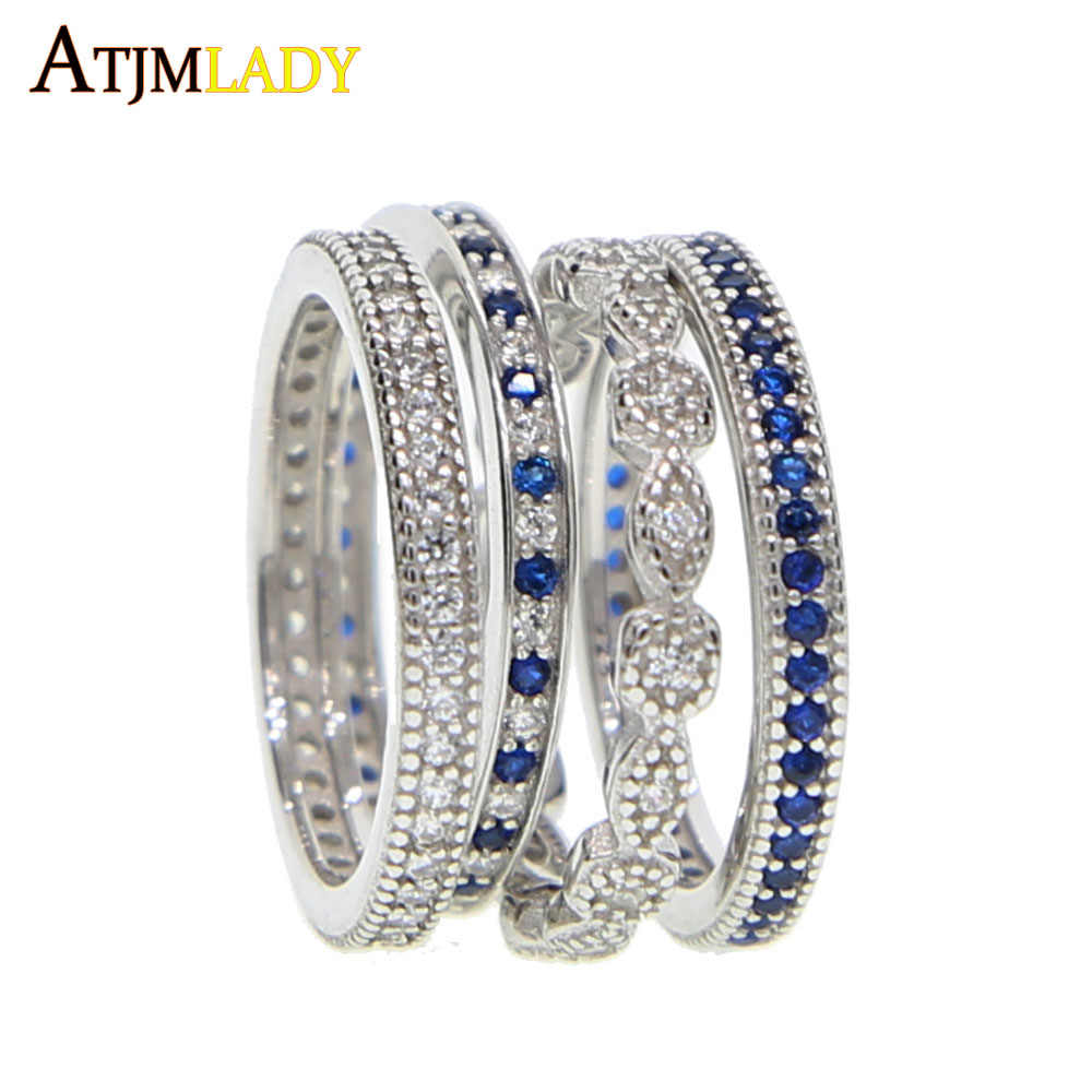 top quality clear blue cubic zirconia engagement band 4 pcs stack stackable women finger 925 sterling silver eternity cz ring