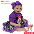 55cm Minnie Mouse Purple Dress Doll Silicone Reborn Realistic Baby Dolls 22 Inch Vinyl Bebe Reborn Babies Toys