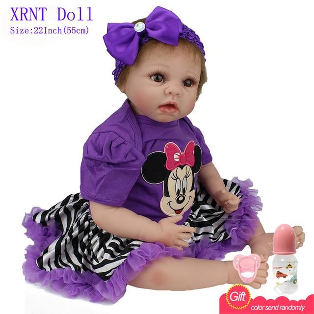 55cm Minnie Mouse Purple Dress Doll Silicone Reborn