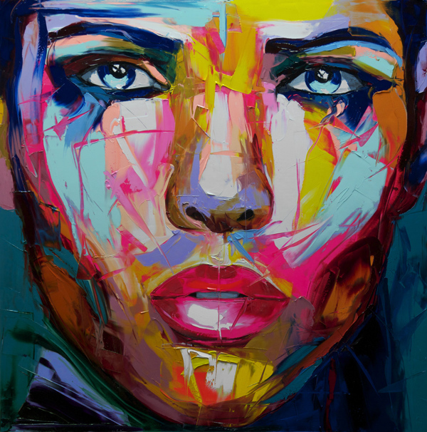 peint la main fran oise nielly couteau portrait peinture l 39 huile sur toile reproductions. Black Bedroom Furniture Sets. Home Design Ideas