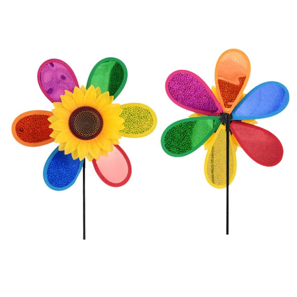 Colorful 3D Sequins Sunflower Windmill Plastic Random Home Garden Yard Decoration Wind Whirligig Outdoor Drop Shipping
