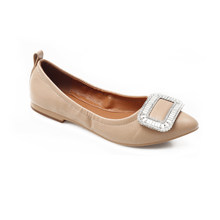 2ae697a72c6c Jiasuer Bling Crystal loafers glitter metal buckle moccasins women pointed  toe folding ballet shoes flat heel