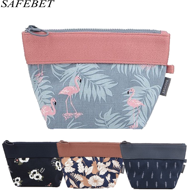 SAFEBET Brand Women Flamingo Organize Flamingo Cosmetic Bags Portable Waterproof Makeup Bag Travel Necessity Beauty Cosmetic Bag