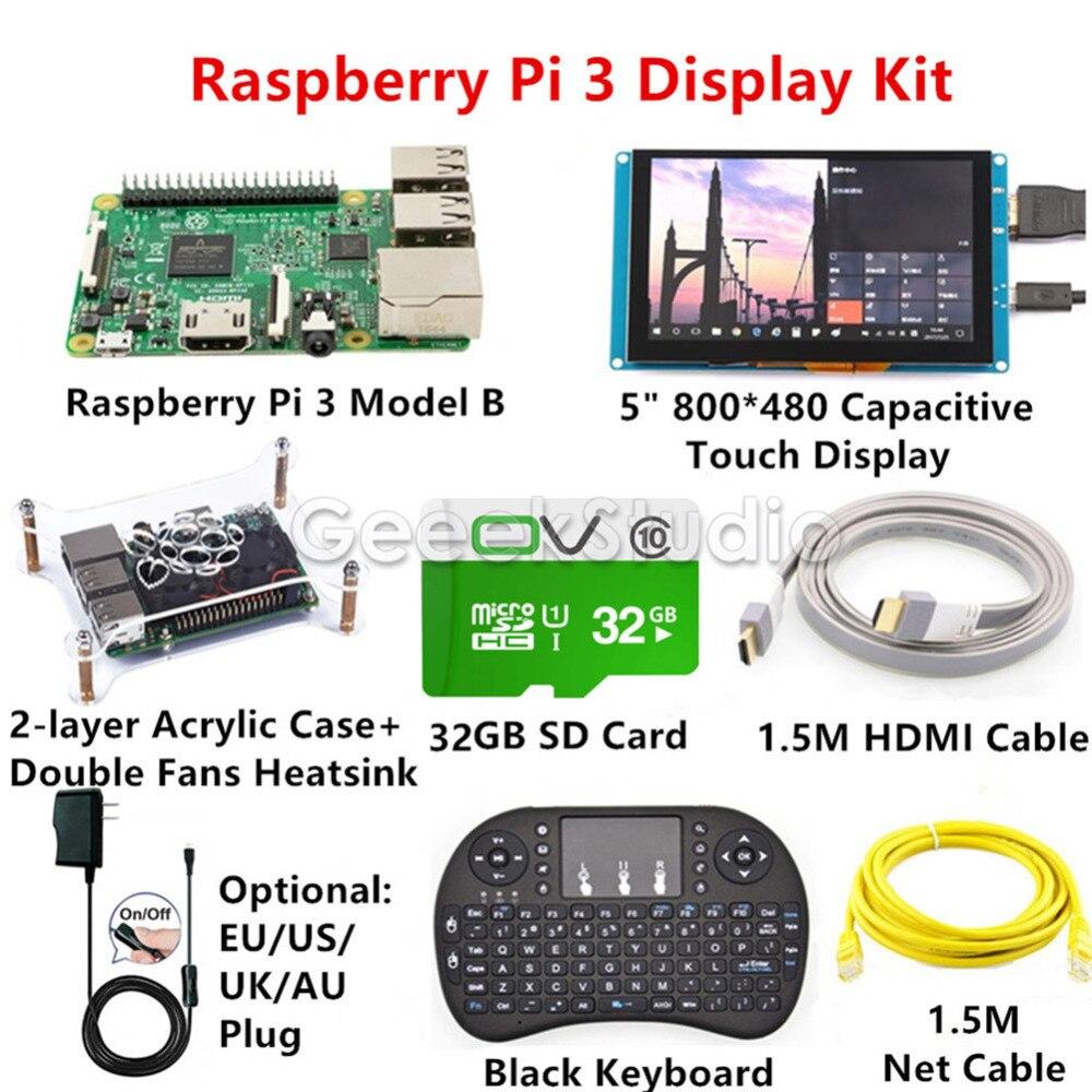 Raspberry Pi 3 Дисплей комплект с 5 дюймов 800*480 емкостный Сенсорный экран монитора + 16 ГБ карты + 5 В 2.5A EU/US/UK/AU Мощность + клавиатура