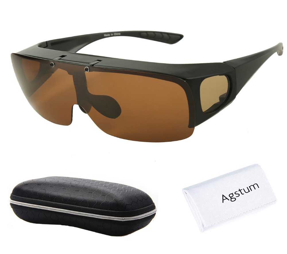 Agstum Mens Womens Wraparound Goggles Polarized Fishing Driving Glasses Flip Up Fit Over Sunglasses
